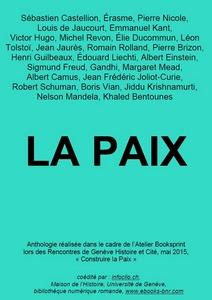 La Paiix - Anthologie - Bibliothèque numérique romande - couverture réalisée par les participants de l'atelier Booksprint de mai 2015
